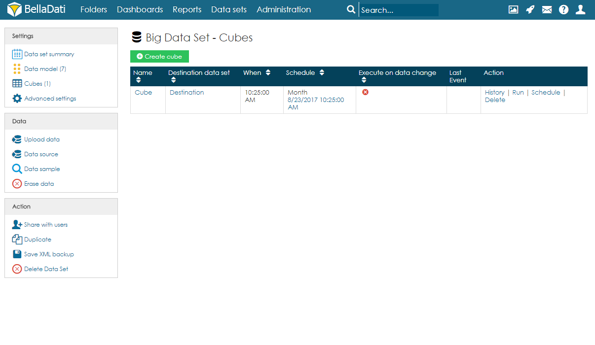 Big Data Sets - BellaDati v2 7 - BellaDati Support